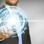 Businessman touching digital graph concept — Stock Photo
