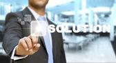 Uomo d'affari tocca il concetto di schermo tattile — Foto Stock