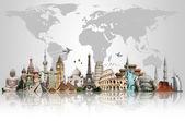 Dünya anıtlar kavramı seyahat — Stok fotoğraf