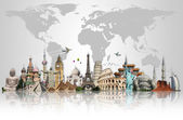 Travel the world monuments concept — Stockfoto