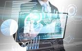 Businessman technology interface — Stock Photo