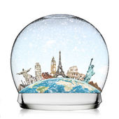 Travel the world monument snowball concept — Stock Photo