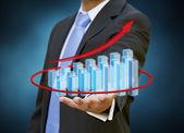 Businessman 3D chart concept — Stok fotoğraf