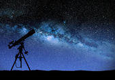 Telescope watching the wilky way — Stock Photo