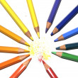 Color crayons in a circle with powder scrubbing, on white — Stock Photo