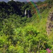 Opeka waterfall landscape scene in Kauai with a rainbow — Stock Photo