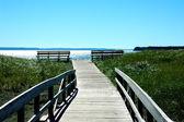 Benches watch over the ocean, on the shores of Campobello Island, New Brunswick, Canada — Stock Photo