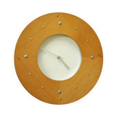 Modern wood & metal wall clock isolated on white — Stock Photo
