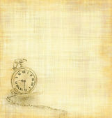 Vintage gold pocket watch draw on a worn parchment texture — Stock fotografie
