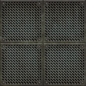 Rugged old anti-slip metal grid-tile floor texture with scratches and rust marks - perfect for 3D modeling and rendering — Stock Photo