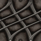 Polished futuristic steel alloy grid on grungy stone background - seamless texture perfect for 3D modeling and rendering — Stock Photo