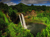The Wailua falls tundering down into a quiet pool. Kauai, Hawai — Stock Photo