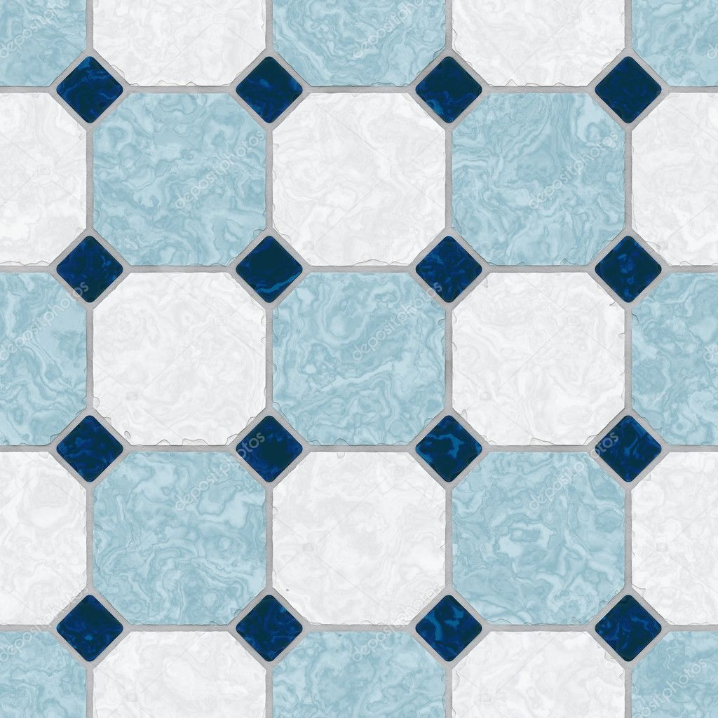 Blue and white ceramic tile kitchen floor seamless texture perfect