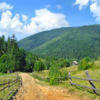 Stock Photo: Dirt road and beautiful mountain landscape. Carpathian, Ukraine.