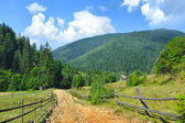 Dirt road and beautiful mountain landscape. Carpathian, Ukraine. — Foto de Stock