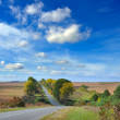 Autumn landscape is with a road - Stock Photo
