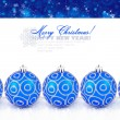 Blue christmas balls with snow on a festive background with space for text — Stock Photo #15618395