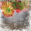 Christmas decoration is a sledges on a snowbound wooden background - Foto de Stock