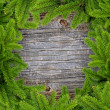 Frame the branches of pine on old wooden background — Stock Photo