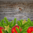 Autumn Leaves over old wooden background - Foto Stock