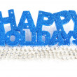Stock Photo: Inscription of happy holidays is on snow on white background