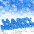 Inscription of happy holidays is on snow on a festive background - Foto Stock