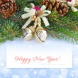Christmas greeting card with branches of fir and decorations baubles over festive background — Stock Photo