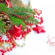 Christmas decorations of bauble are with the branches of fir and sample text — Stock Photo