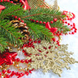 Christmas decorations of bauble are with the branches of fir on snow - Stockfoto