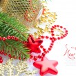 Christmas decorations of bauble are with the branches of fir and sample text - Stockfoto