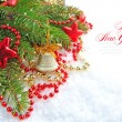 Christmas decorations of bauble are with the branches of fir on snow — Stockfoto