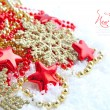 Christmas decorations of bauble are with stars and sample text — Photo