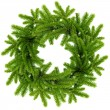 Wreath from the branches of christmas tree isolated on white — Stock Photo #15618423