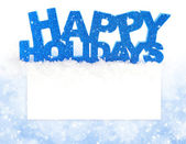 Inscription of happy holidays is on snow on a background a postal with space for text — Stockfoto