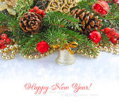 Christmas composition with the branches of fir and Christmas decorations — Stock Photo