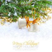 Weihnachten glockenblumen sind mit den filialen der tanne auf schnee — Stockfoto