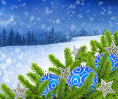 Blue and silver christmas decoration baubles on a background a winter landscape — Stock Photo