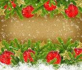 圣诞红球和旧的纸,文本的空间背景上松 — 图库照片