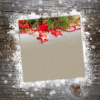 Christmas postal on a wooden background with snowflakes — Stock Photo #15886117
