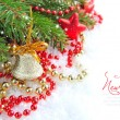 Christmas decorations of bauble are with the branches of spruce on snow — Lizenzfreies Foto