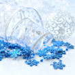 Christmas festive background with silver and blue baubles — Stock Photo #16318253