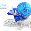 Christmas blue and silver decorations on white background — Stock Photo