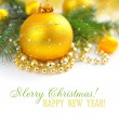 Christmas decorations of bauble are with the branches of fir on festive background - ストック写真