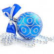 Christmas blue ball is with beads on white background - ストック写真
