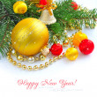 Christmas decorations of bauble are with branches of fir on white — Stockfoto #16926863