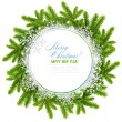 White christmas frame is with branches of spruce and snowflakes on white background — Stockfoto #16926879