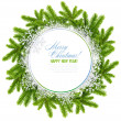 Stock Photo: White christmas frame is with the branches of spruce and snowflakes on a white background