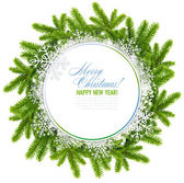 White christmas frame is with the branches of spruce and snowflakes on a white background — Stock Photo