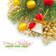 Christmas decorations of bauble are with the branches of fir on white - Stock Photo