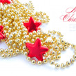 Christmas decorations of bauble are with stars and sample text — Stok fotoğraf